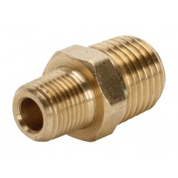 "3/8"" Male BSPT x 1/4"" Male BSPT Brass Straight Reducing Nipple"
