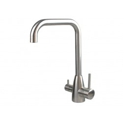 3 Three Way Mixer Tap Hot Cold & Pure Stainless Steel Square