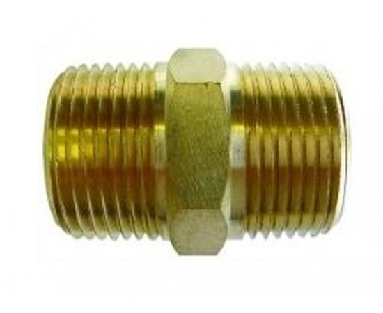 "Hex Nipple 3/4 BSPT"" x 3/4"" BSPT No 27 Brass Housing Joiner"