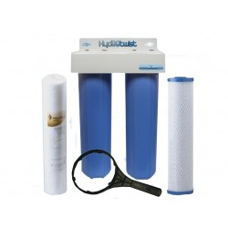 """Twin Whole House Water Filter System 20"""" Big Blue Standard GAC"""