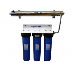 """UV Quad Whole House Water Filter System CTO 48LPM Big Blue 20"""""""