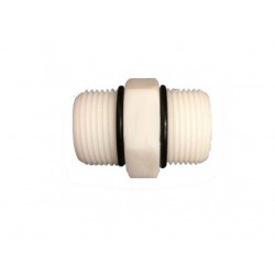 """Hex Nipple 1/2"""" x 1/2"""" Plastic Housing Joiner with Orings"""