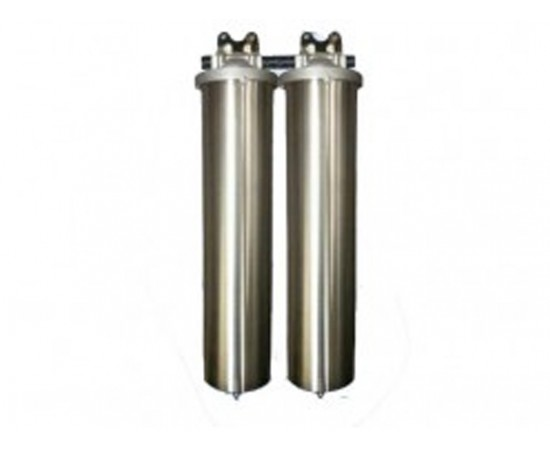 """Twin Whole House Big Stainless Steel 20"""" Water Filter System GAC"""