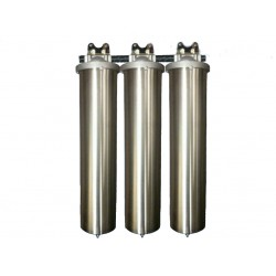 "Triple Whole House Water Filter System 20"" Stainless Steel GAC"