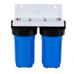 """Twin Whole House Water Filter System 10"""" Big Blue Standard GAC"""