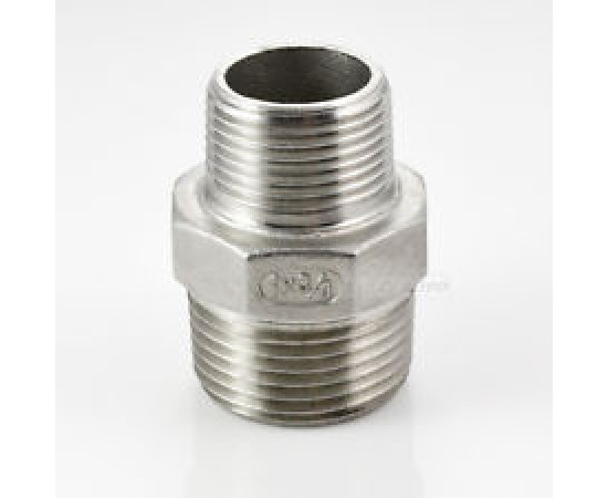 "Stainless Steel 316 Grade 1/2"" BSP Male x 3/4"" BSP Male Reducer"