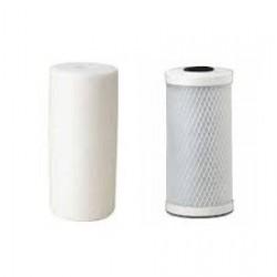 "Twin Whole House Replacement Water Filter Set Polyspun + GAC 10"""