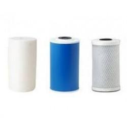 "Triple Whole House Big Blue Filter Set Polyspun Pleated GAC 10"" x 4.5"""