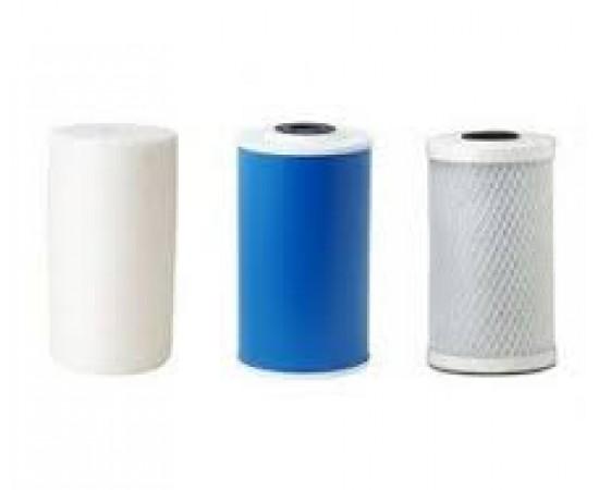 "Triple Whole House Filter Set Polyspun Pleated & CTO 10"" x 4"