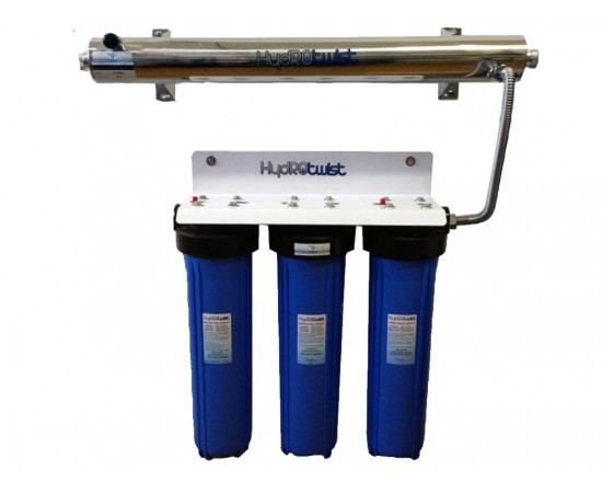 UV Quad Whole House Water Filter System CTO 91LPM Big Blue 20""