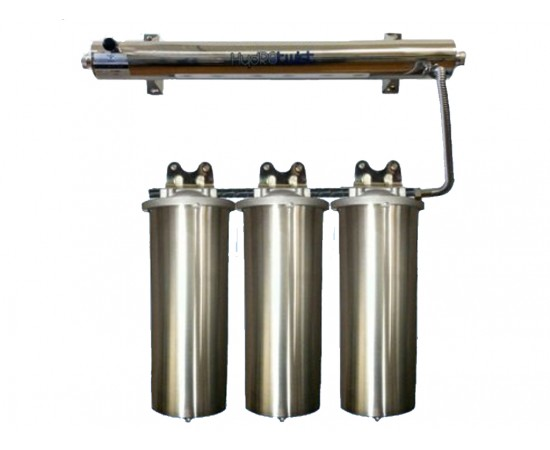 UV Quad Whole House Water Filter System 48LPM 304 Stainless