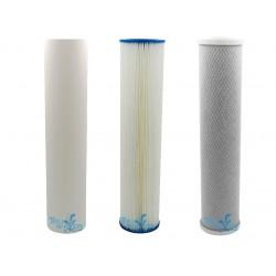"Triple Wholehouse Water Filter Set GAC + Fluoride + CTO 20"""