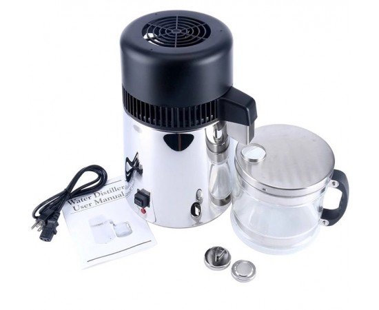 HydROtwist Steam Purifier Distiller Stainless With Glass Bottle
