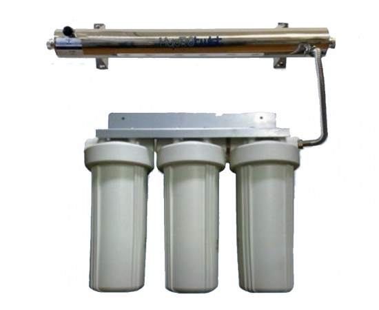 """UV Quad Whole House Water Filter System USA 30LPM Big White 10"""""""