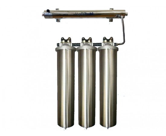 UV Quad Whole House Water Filter System 91LPM 304 Stainless