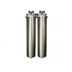 """Twin Whole House Big Stainless Steel 20"""" Water Filter System CTO"""