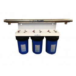 """UV Quad Whole House Water Filter System CTO 30LPM Big Blue 10"""""""