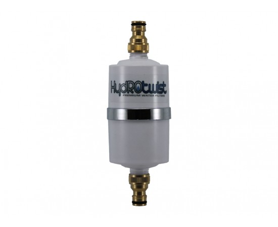 HydROtwist GAC Caravan Water Filter with Brass Hose Connections