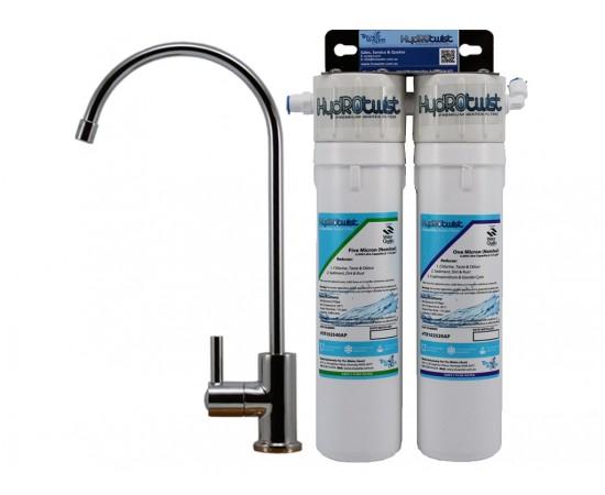 """HydROtwist Premium Quick Change Twin Under Sink Water Filter 10"""""""