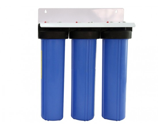 """Triple Whole House Water Filter System 20"""" Big Blue Standard GAC"""