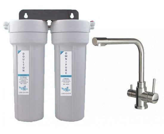 HydROtwist Twin Under Sink Water Filter System & 3 Way Mixer